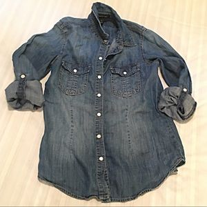 INC SOFT BUTTON DOWN DENIM SHIRT IN EUC SIZE SMALL